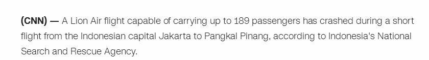 CNN:印尼坠海航客机上一共载有189名乘客