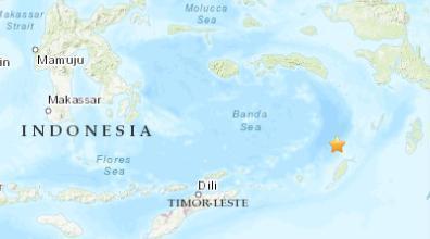 印尼西南部海域发生5.0级地震 震源深度33.5千米