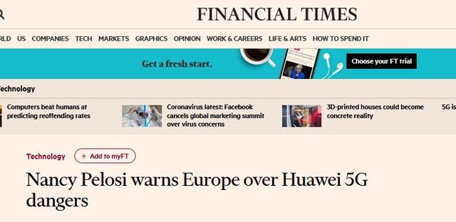 """佩洛西警告欧洲""""别接近华为"""",傅莹当场回怼"""