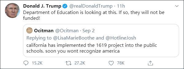 """奴隶制开端才是美国""""元年""""?特朗普急了:学校这样教,不给经费"""