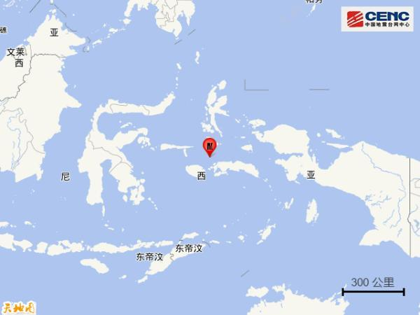 印尼塞兰海发生5.0级地震