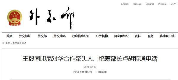 王毅:印尼总统佐科接种中国疫苗体现了对中国的信任