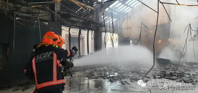 新加坡店屋清晨失火,烈焰冲天烧成废墟