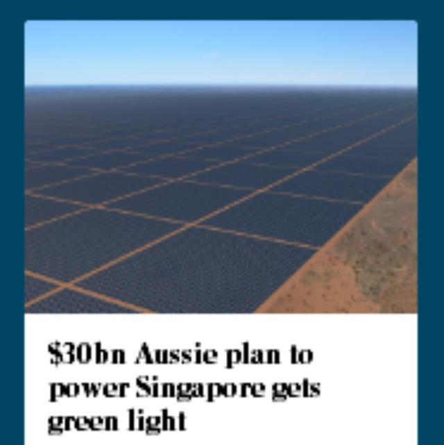 印尼政府点头 澳洲向新加坡300亿澳元供电计划继续推进